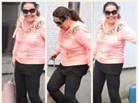 Lisa Riley Arrives At ITV Studios In Perfect Black Leggings